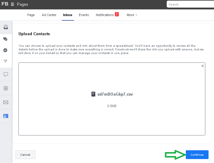 Facebook Page Marketing .csv template